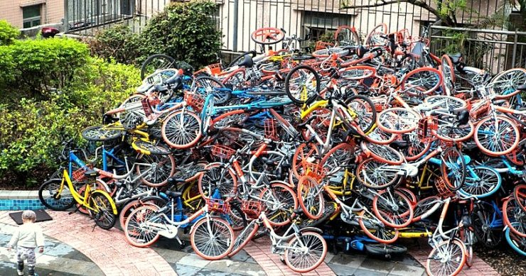 Amontoado de bicicletas na China